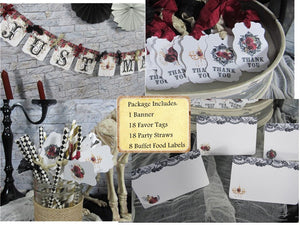 Gothic Red Roses Wedding Decorations Package Just Married