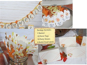Leaves Pumpkins Watercolor Floral Baby Shower Decorations Package