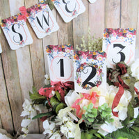 Coral Rust Watercolor Floral Wedding or Bridal Shower Decorations Love is Sweet
