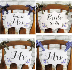 Lavender Purple Wedding or Shower Decorations Package- Banner Garland Bunting- Cupcake Toppers- Favor Bags & Tags- Floral Picks She Said Yes