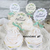 Just Married Floral Boho Succulent or Tropical Cupcake Toppers - Set of 18