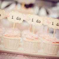 i do Wedding Cupcake Toppers Party Picks Vintage Rustic Shabby - Set of 12  18  36  50  100