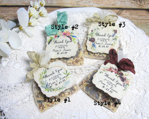 Rustic Wedding or Shower Favor Thank You Tags & Birdseed Favors - Personalized
