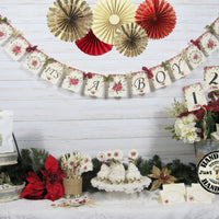 Poinsettia Winter Baby Shower Decorations