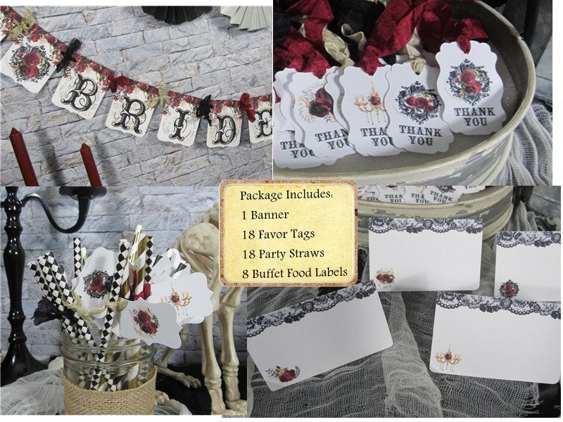 Gothic Red Roses Bridal Shower Decorations Package
