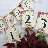 Poinsettia Wedding Decorations Winter Floral Just Married Mr & Mrs