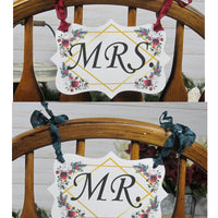 Winter Christmas Floral Wedding Decorations Just Married Mr & Mrs
