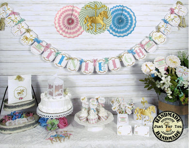 Carousel Horse Table Decorations Package Set - Custom Name Banner Garland