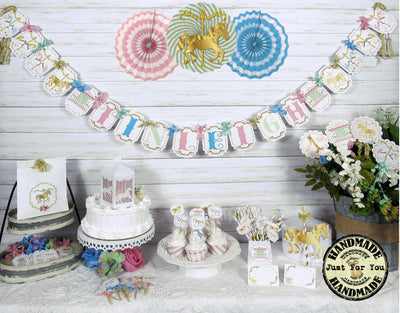 Carousel Horse Table Decorations Full Package Set with Custom Name Banner Garland