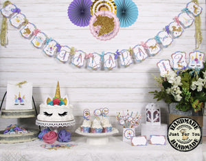Unicorn Rainbow Party Table Decorations Package Set - Custom Name Banner Garland