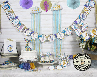 Mermaid Party Decorations - Custom Name Banner Garland