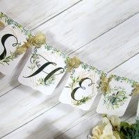 Greenery Floral Gold Geometric Wedding or Bridal Shower Engagement Decorations