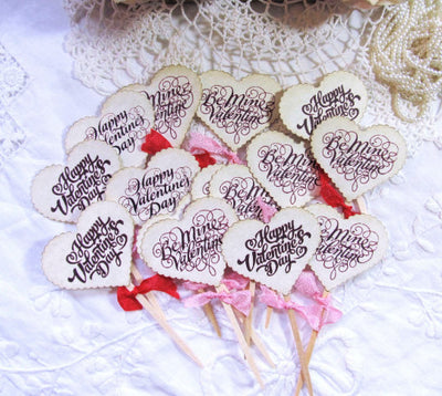Valentine Cupcake Toppers Heart Party Picks or Favor Tags - Be Mine Valentine