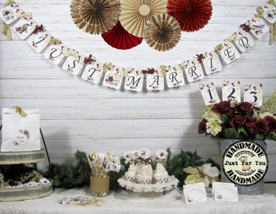 Winter Roses Floral Wedding Decorations Just Married Mr & Mrs