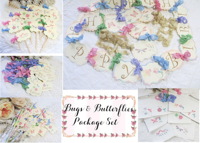 Bugs and Butterflies Birthday Party Decorations Package Bundle Kit
