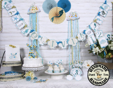 Mermaid Party Table Decorations Package Set - Custom Name Banner Garland