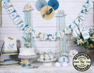 Mermaid Party Table Decorations Full Package Set with Custom Name Banner Garland