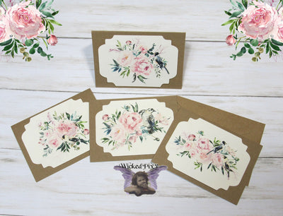 Watercolor Floral Flowers Birds Blank Kraft Note Cards w/ Envelopes - Set of 4 - All Occasion Greeting Thank You Baby Shower Bridal Wedding