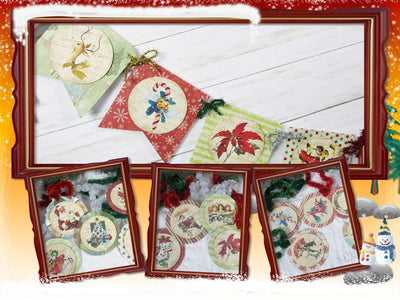 Vintage Style Rustic Christmas Banner Garland & LARGE Gift Present Tags