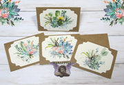 Cactus Watercolor Floral Blank Kraft Note Cards with Envelopes - Set of 4 - All Occasion Greeting or Thank You Cards