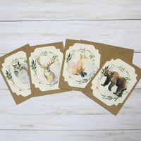 Forest Woodland Animals Watercolor Floral Blank Kraft Note Cards with Envelopes - Set of 4 - All Occasion Birthday Thank You