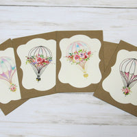 Hot Air Balloon Watercolor Floral Blank Kraft Note Cards with Envelopes - Set of 4 - All Occasion Greeting or Thank You Cards Baby Shower