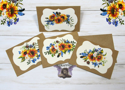 Sunflowers Boho Watercolor Floral Flowers Blank Kraft Note Cards w/ Envelopes