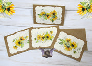 Sunflowers Watercolor Floral Flowers Blank Kraft Note Cards w/ Envelopes