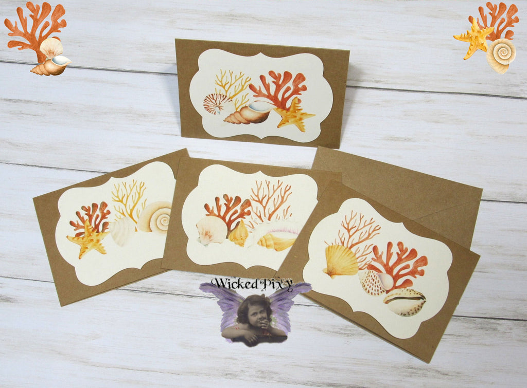 Sea Life Ocean Watercolor Blank Kraft Note Cards w/ Envelopes - Set of 4 - All Occasion Greeting Thank You Baby Shower Bridal Wedding