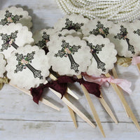 Baptism Christening First Communion Old World Cross Decorations - God Bless Name Banner Garland Bunting Cupcake Toppers Favor Bags Tags