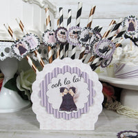Ooh La La Purple Black Corset Shoes Lingerie Shower Decorations
