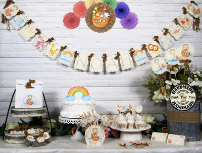 Noah's Ark Baby Animal Shower or Birthday Decorations Package - Name Banner