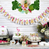 Pink Flamingo Floral Tropical Bridal or Baby Shower Table Decorations