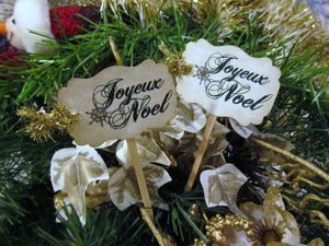 Joyeux Noel French Christmas Snowflake Cupcake Toppers Party Picks w/Tinsel Ribbons - Set of 18