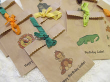 Jungle Animals Zoo Safari Kraft Party Favor Treat Bags w/ribbons - Set of 15 - Animal zoo birthday