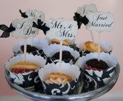 Wedding Cupcake Toppers Party Picks Bridal Mix - Just Married I Do Mr. & Mrs. - Set of 50