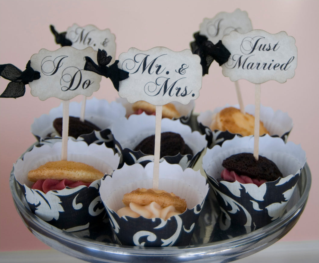 Wedding Cupcake Toppers Party Picks - Bridal Mix - Just Married I Do Mr. & Mrs. - Set of 50 - Choose Ribbons - Rustic Vintage Wedding