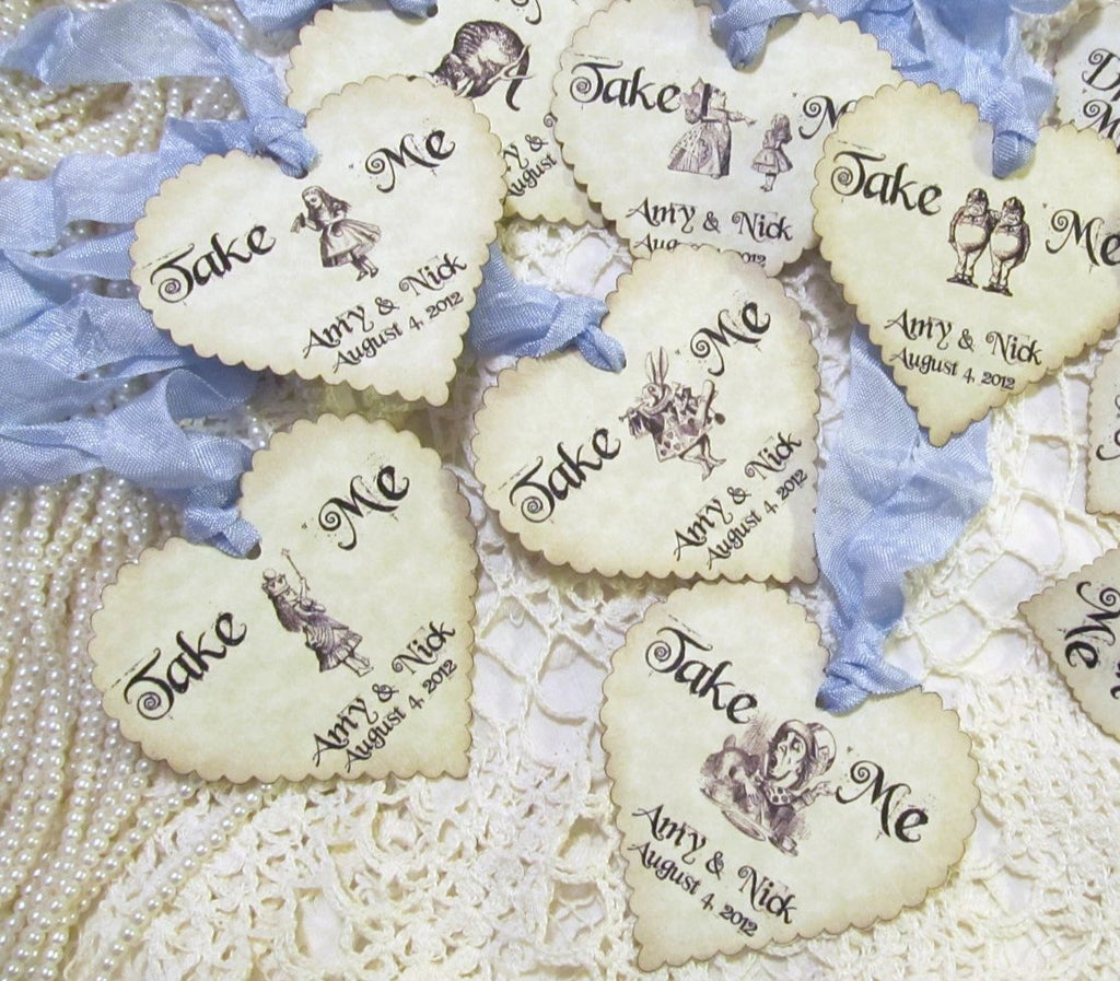 Alice in Wonderland Personalized Tags Take Me Large Favor Tags with Ribbons