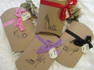 Shoes Favor Box Ladies Heels Medium Kraft Pillow Box w/Tag - Set of 10 - Choose Ribbons - Bridal Shower Lingerie Party Bachelorette Favor
