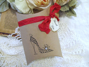 Shoes Favor Box Ladies High Heels Kraft Pillow Box w/Tag - Set of 10