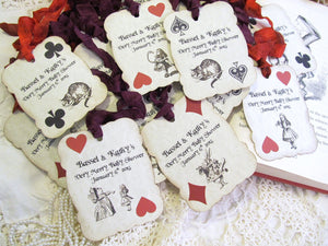 Alice Tags Characters Playing Card Parchment Large Party Favor Tags - Set of 12 - Personalized - Choose Ribbon Color - Mad Tea Party Shower