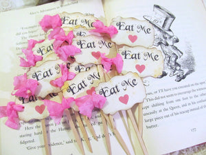 Alice Eat Me Cupcake Toppers - Party Picks with Hot Pink Hearts - Set of 18 - Baby Bridal Shower Tea Party Looking Glass