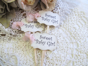 Baby Shower Cupcake Toppers w/ribbons - Sweet Baby Boy or Sweet Baby Girl Party Picks - Set of 12 or 18 - gender reveal - its a girl boy