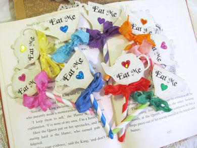 Alice Eat Me Deluxe Straw Cupcake Toppers w/ribbons  - Teapot Teacup Cupcake Toppers Tea Party Picks - Rainbow Sparkle Hearts - Set of 12