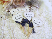 Wedding Hearts Personalized Initial Cupcake Toppers Party Picks - vintage typewriter font  - Set of 12 - Choose Ribbons - Vintage Rustic