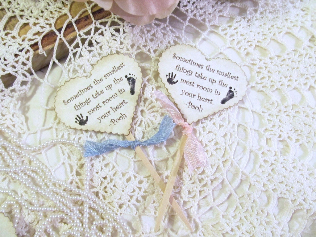 Baby Shower Heart Cupcake Toppers Party Picks -  The Smallest Things - Set of 12