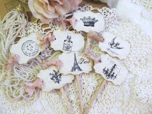 French Paris Cupcake Toppers Party Picks w/ribbons - Parchment - Choice of Ribbons - Set of 18 - Bridal Shower Bachelorette Paris Party