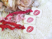Lipstick Kiss Favor Tags w/ribbons - SWAK Lips Lingerie Party Favor Shower Gift Tags - Set of 15 - Choose Ribbon Color - Bridal Bachelorette