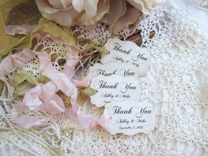 Wedding Favor Tags Thank You Parchment Shower - Customized Personalized - Set of 18 - Choose Ribbon Color - Vintage Rustic Shabby Style