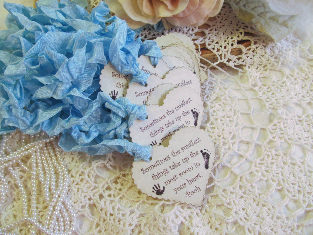 Baby Shower Tags Favor Tags Scallop Hearts - The Smallest Things - Set of 12 - Choose Ribbons - gender reveal neutral sprinkle
